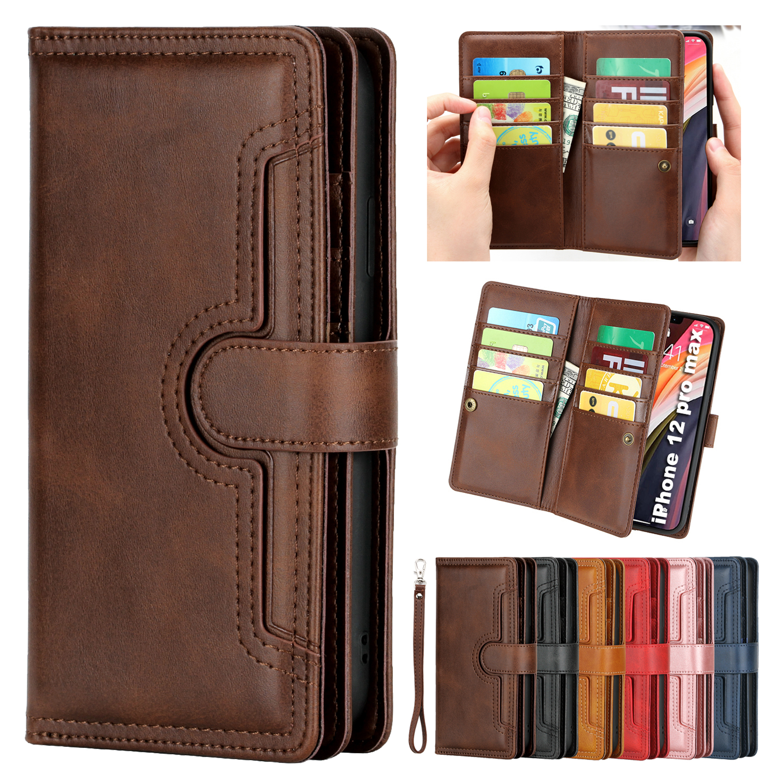 Luxury Magnet Leather Flip Card Strap Wallet Case Cover ...